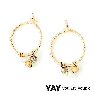 YAY You Are Young Frida 寶石花束耳環 迷你圓耳骨夾 珍珠X星辰豆豆