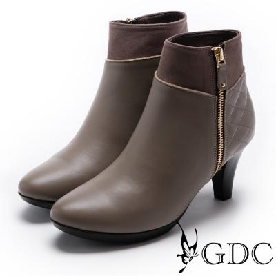 GDC-時尚必備全真皮側拉鍊踝靴-米杏色