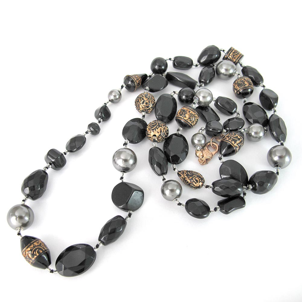 KOURIN古典系列-黑色古典圖騰36吋長珠鍊
