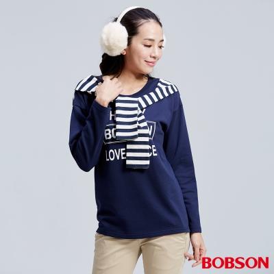 BOBSON  女款仿二件式深藍上衣