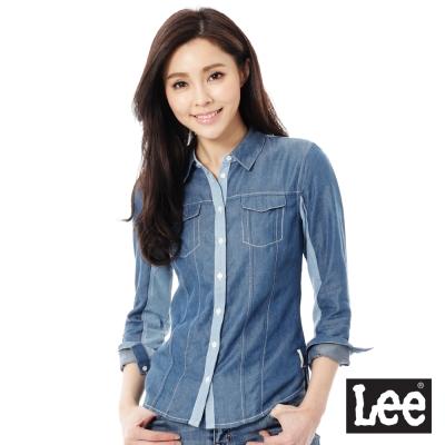 Lee 牛仔長袖襯衫 牛仔布拼接 -女款(淺藍)