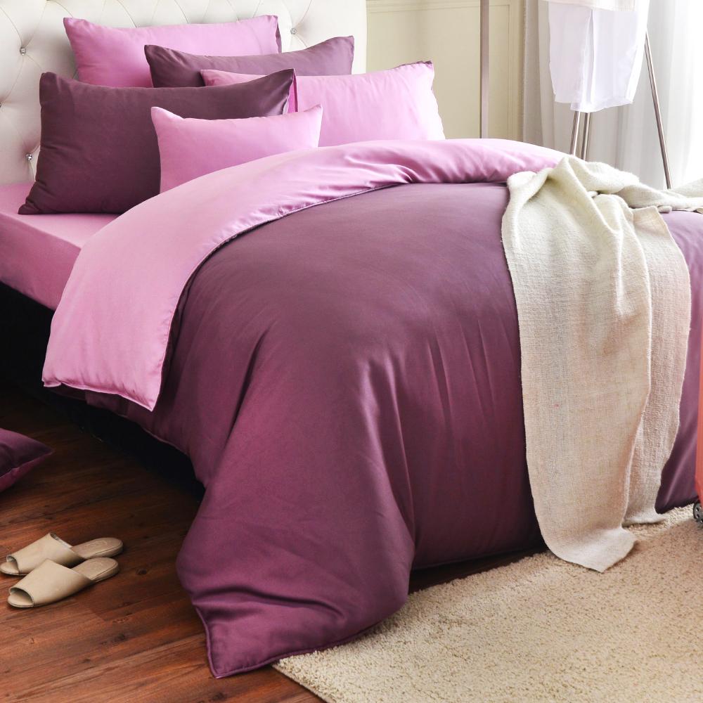 Saint Rose 真摯.霓紫 雙人100%純天絲兩用被套床包四件組
