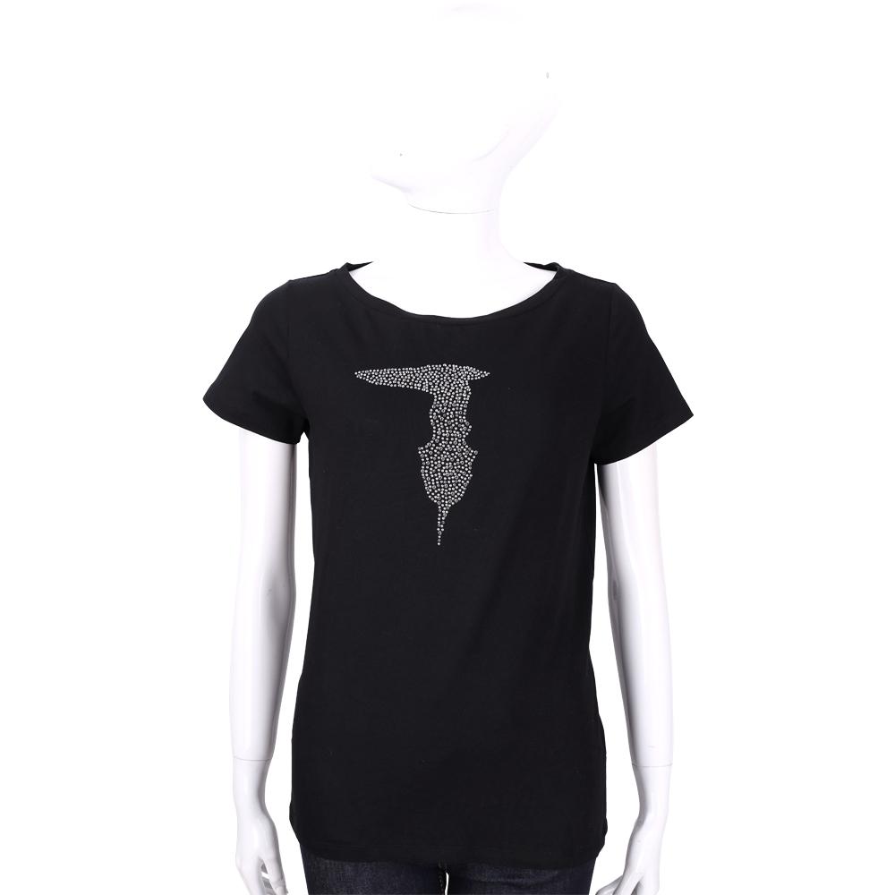 TRUSSARDI 黑色 品牌LOGO貼飾棉質短袖T恤