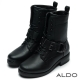 ALDO-REAL-LOVE黑色釦帶粗跟拉鍊短靴