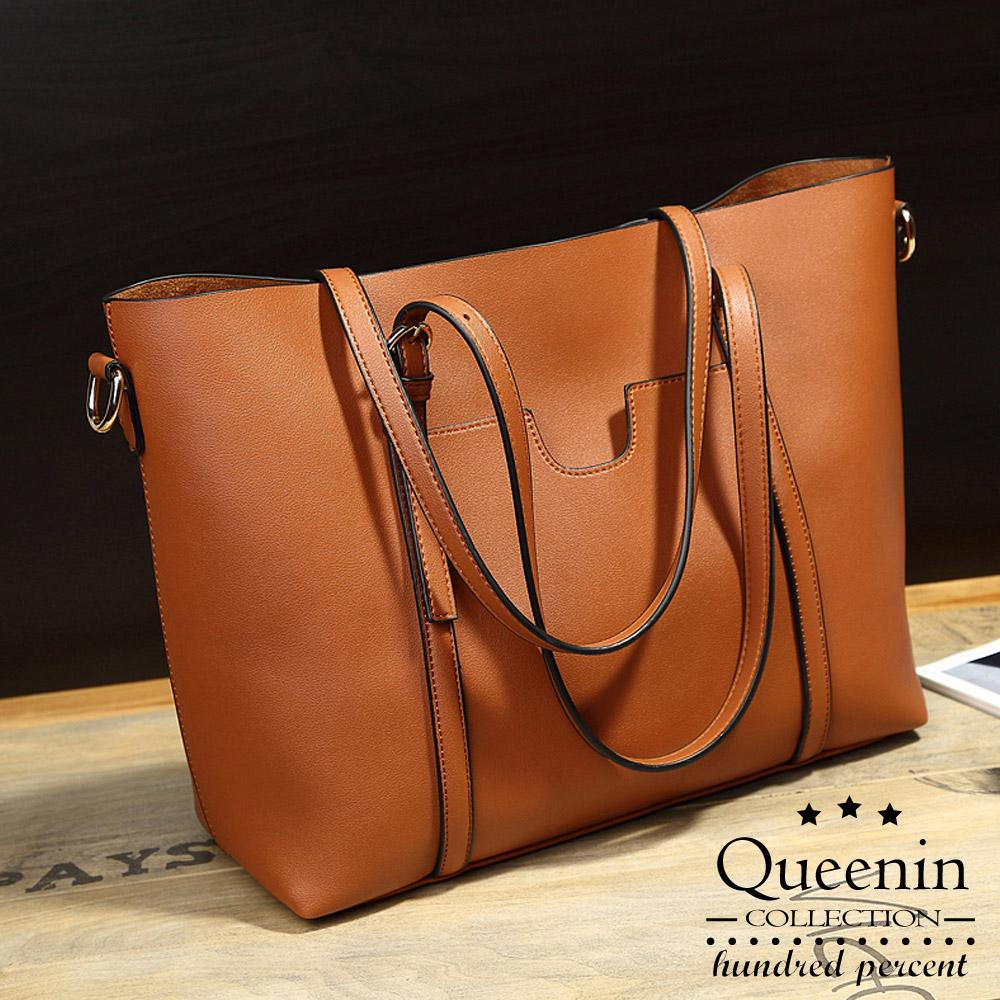 DF Queenin日韓 - 細亞時尚秀仿皮款可斜背托特包-共3色