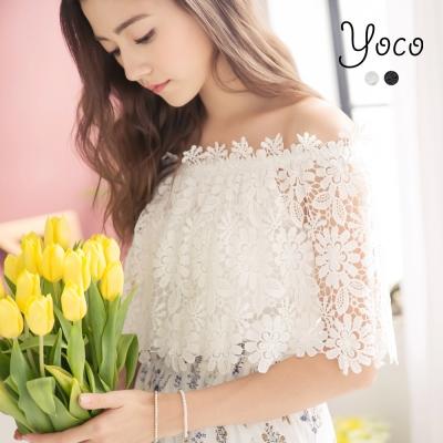 東京著衣-yoco 仲夏假期刺繡蕾絲一字領罩衫上衣-S.M.L(共二色)
