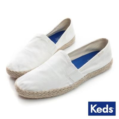Keds 夏日風情系列之夏日草編休閒便鞋-奶油白