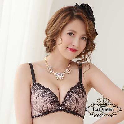 內衣  美型低脊心立體集中無鋼圈成套內衣-黑 La Queen