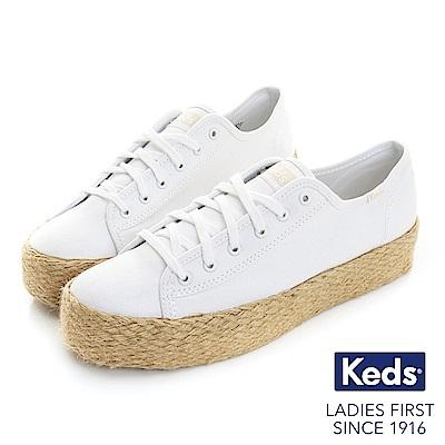 Keds TRIPLE KICK 夏季草編綁帶帆布鞋-白
