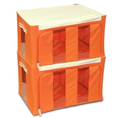 WallyFun 第三代-雙U摺疊收納箱 -橘色86L (超值2入) ~超強荷重200kg