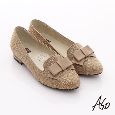 A.S.O 典雅舒適 金蔥網格蝴蝶結飾低跟樂福鞋 卡其