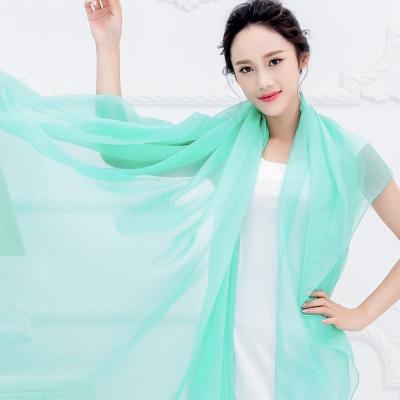 Seoul Show 超大版素面單色雪紡絲巾圍巾披肩 蘋果綠