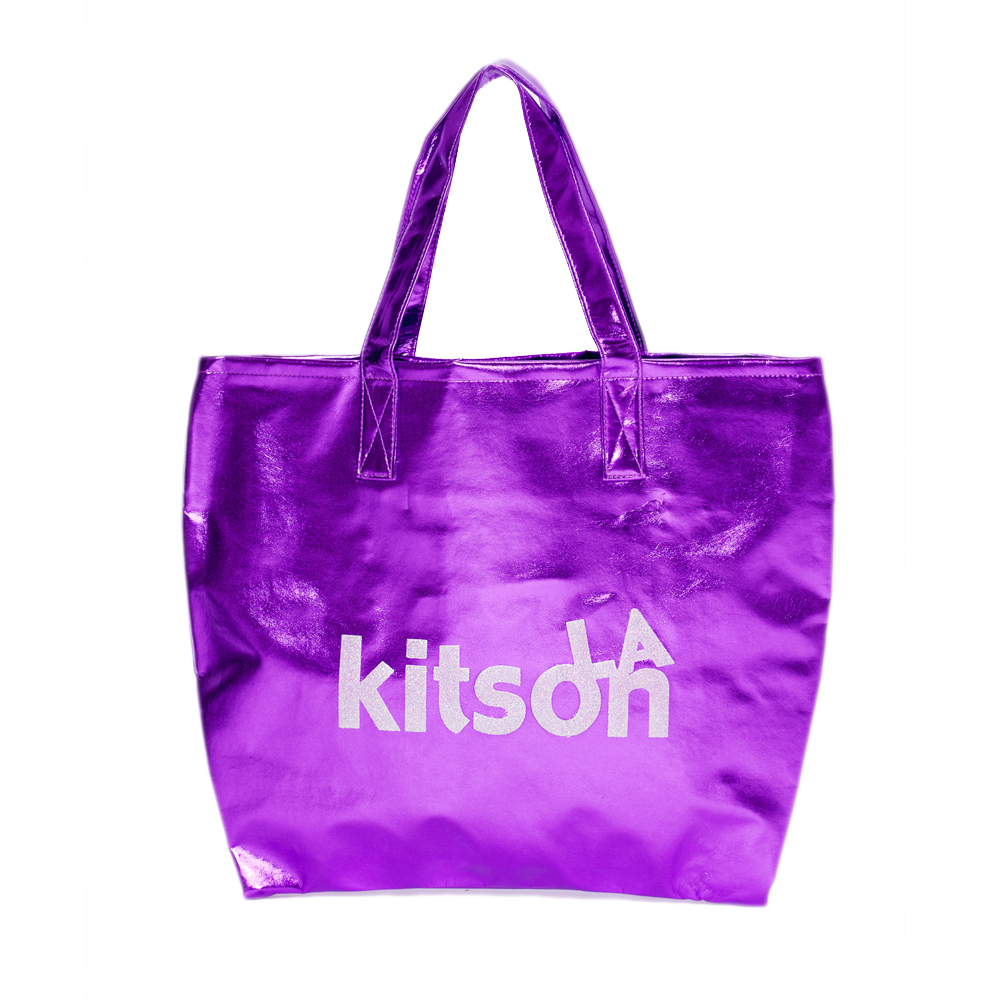 kitson  LOGO金屬光澤托特包 PURPLE(共三色)