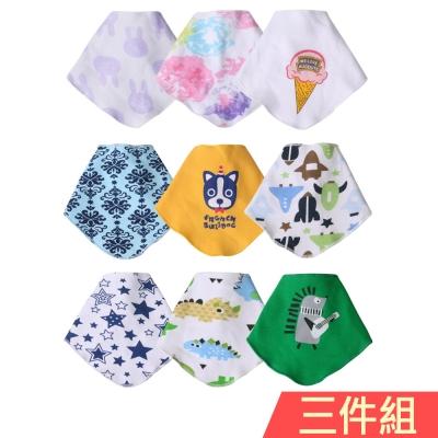 baby童衣 新生兒口水巾 卡通印花三角巾三件組 X3030