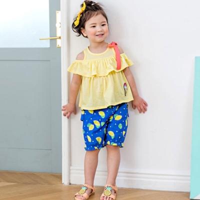 BEBEZOO 韓國 寶藍底滿版黃檸檬短褲