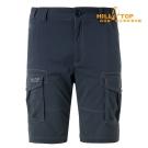 【hilltop山頂鳥】男款超潑水抗UV彈性短褲S09M64深灰藍