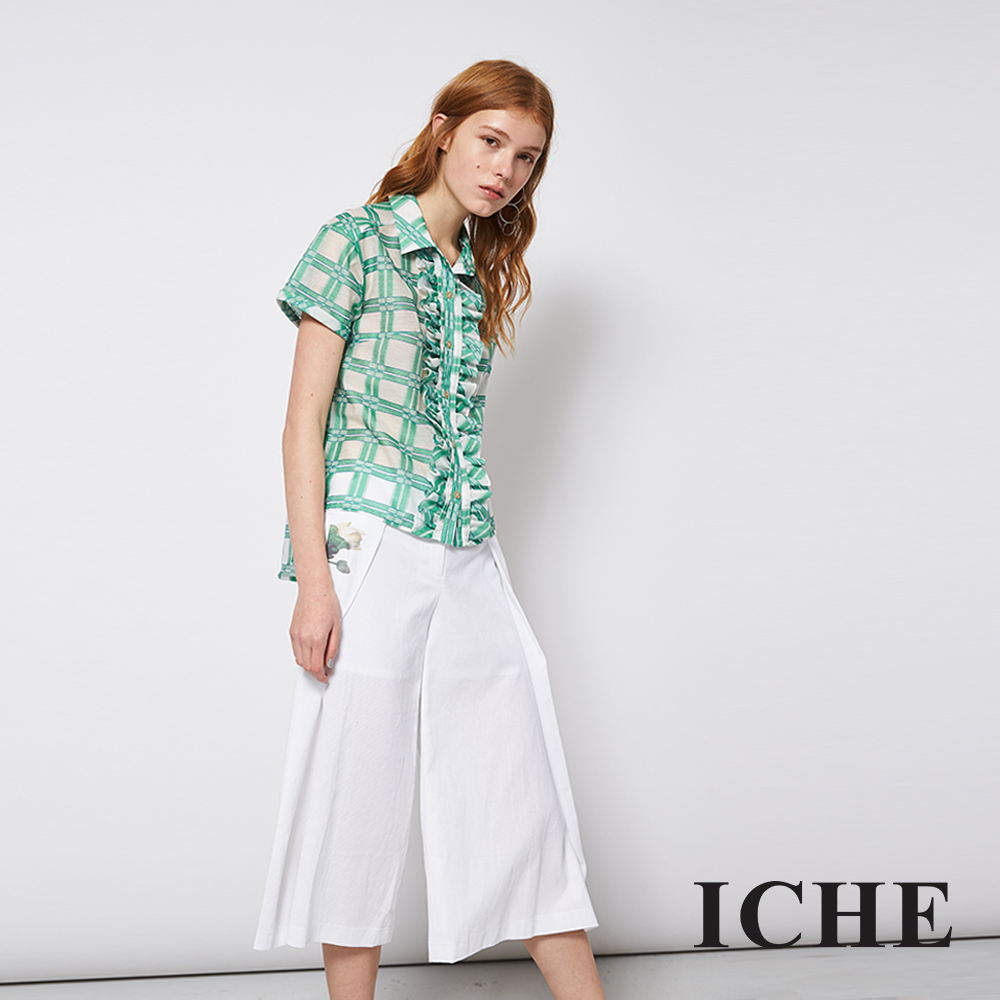 ICHE 衣哲 時尚荷葉格紋印花拼接造型上衣
