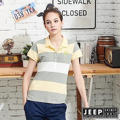 JEEP 女裝 立體織紋吸濕排汗POLO衫-黃色