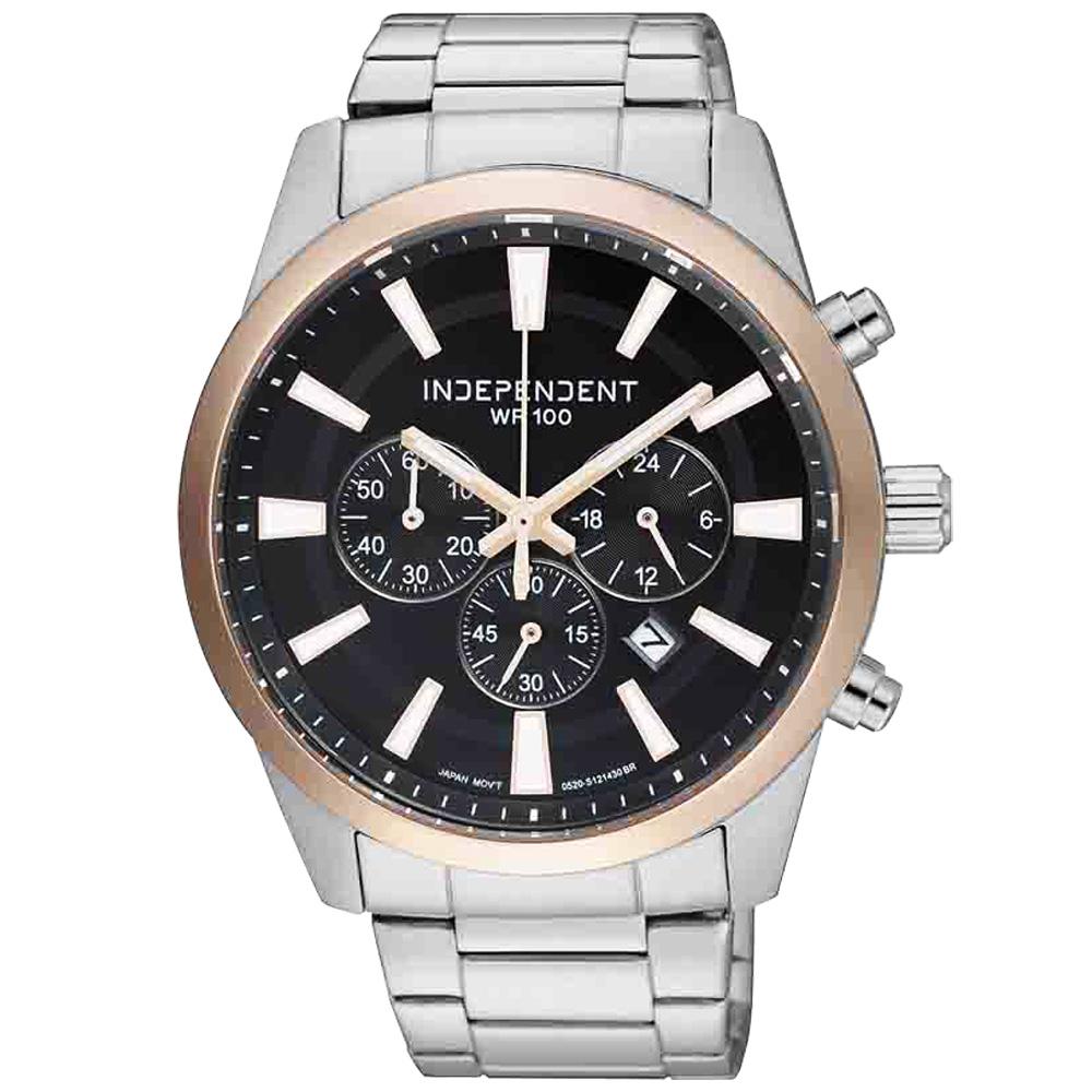 INDEPENDENT 低調鋒芒日期都會計時腕錶-黑x玫瑰金/42mm