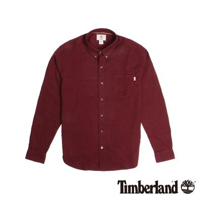 Timberland-男款酒紅色素面法蘭絨長袖襯衫
