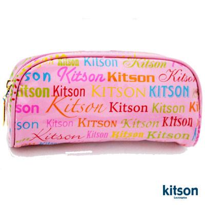 【kitson】 繽紛LOGO 漆皮化妝包 (粉紅)
