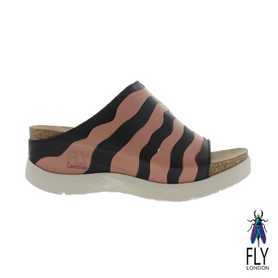 Fly London(女) Wynt 雙層波浪真牛低坡跟造型涼鞋 - 黑粉浪