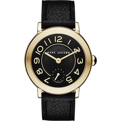 Marc Jacobs Riley 城市小秒針腕錶-黑/37mm