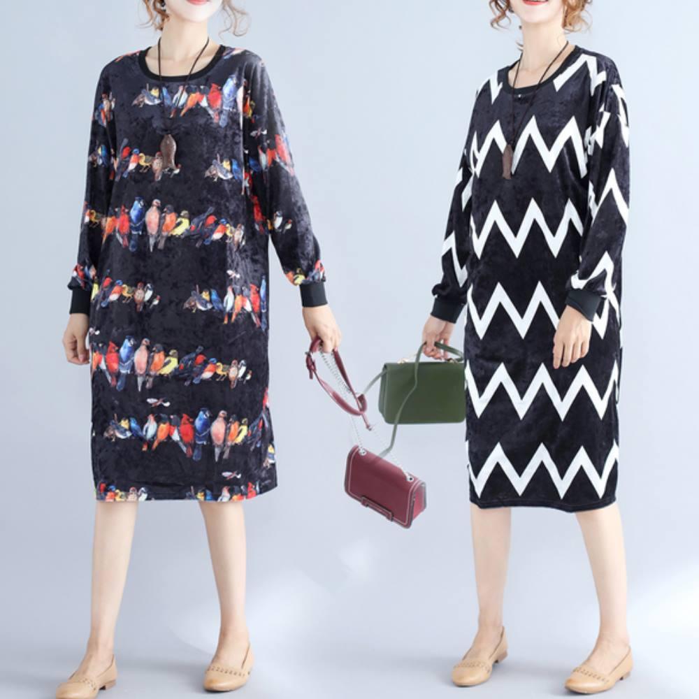 中大尺碼抽象波紋小鳥印花亮面棉絨洋裝XL~4L-Ballet Dolly