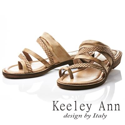 Keeley Ann 民族風質感紋路仿舊擦色全真皮平底拖鞋(土黃色-Ann)