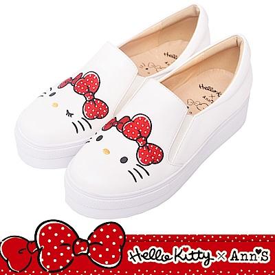 HELLO KITTY X Ann'S毛茸茸不對稱彩色刺繡厚底懶人鞋-白