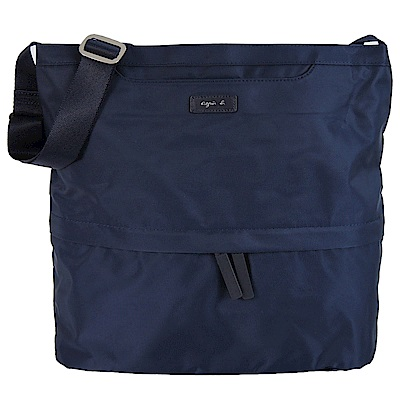 agnes b.皮標前口袋四方斜背包-大/深藍