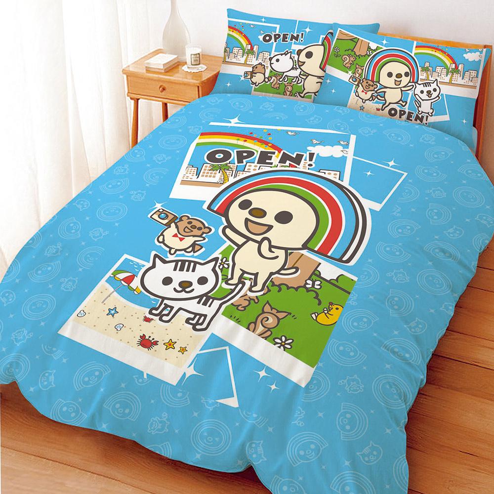 OPEN!郊遊趣系列-雙人四件式床包涼被組