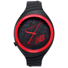 New Balance 502系列 NB LOGO運動秒針矽膠造型錶-紅黑/40mm