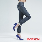 BOBSON 植絨貼合布小直筒褲(深藍)