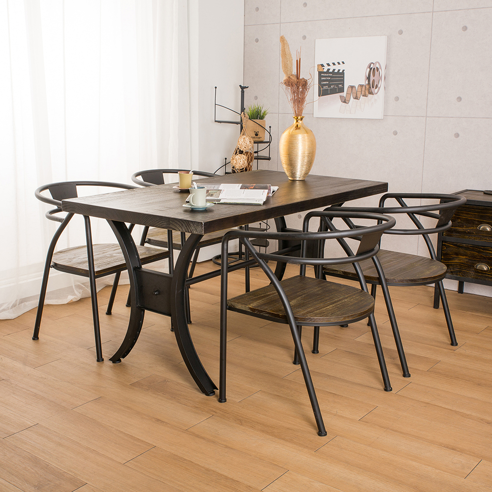 微量元素 手感工業風美式餐桌椅組/一桌四椅-長140X寬80X高76公分