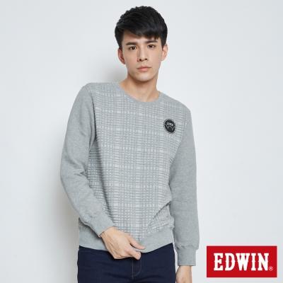EDWIN LOGO徽章方格長袖T恤-男-灰色