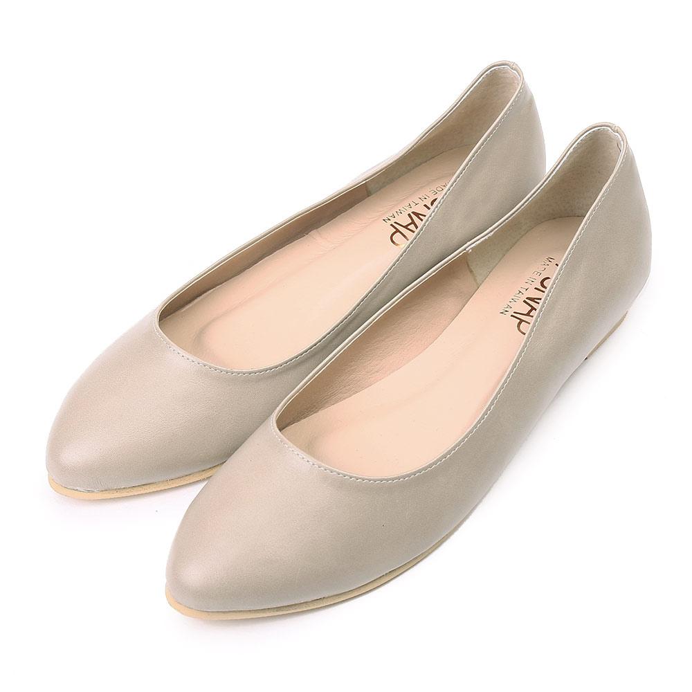 TTSNAP尖頭鞋-MIT素面羊紋內增高真皮平底鞋 灰