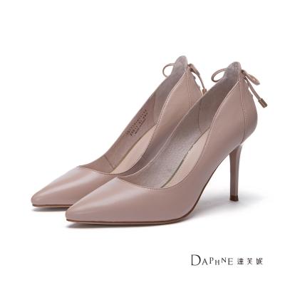 達芙妮DAPHNE-高跟鞋-蝴蝶結綁帶造型真皮尖頭鞋-駝