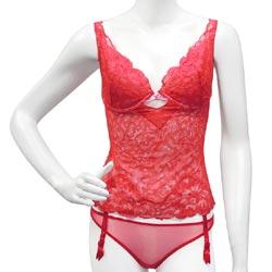 維多利亞的秘密  紅色性感薄紗吊襪內衣組【36C+XS】