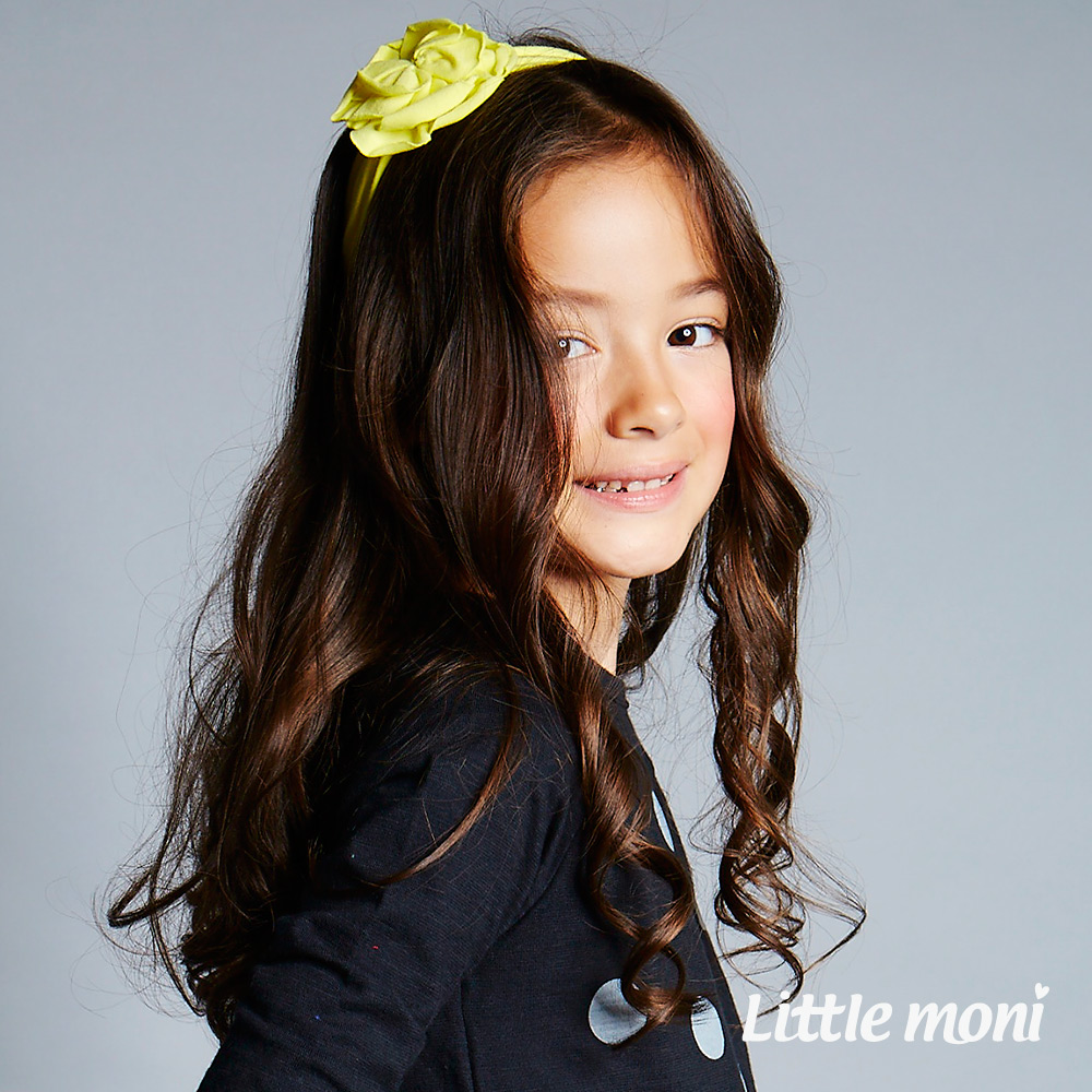 Little moni  手工大花瓣髮帶 - 黃色