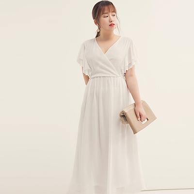 AIR SPACE PLUS 交叉領雙層寬袖雪紡長洋裝(白)