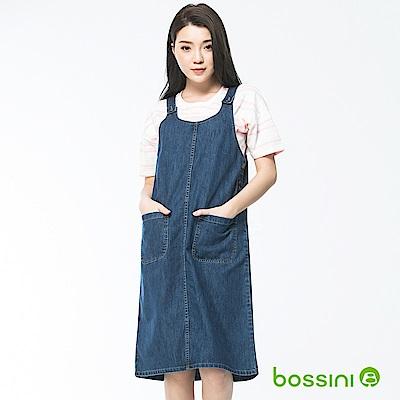 bossini女裝-牛仔背心吊帶裙深靛藍