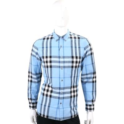 BURBERRY 扣領格紋棉麻混紡長袖襯衫(男款/水藍色)