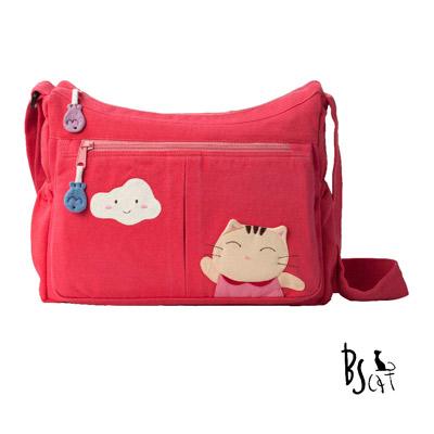 ABS貝斯貓 可愛貓咪拼布 肩背包 斜揹包 (粉) 88-210