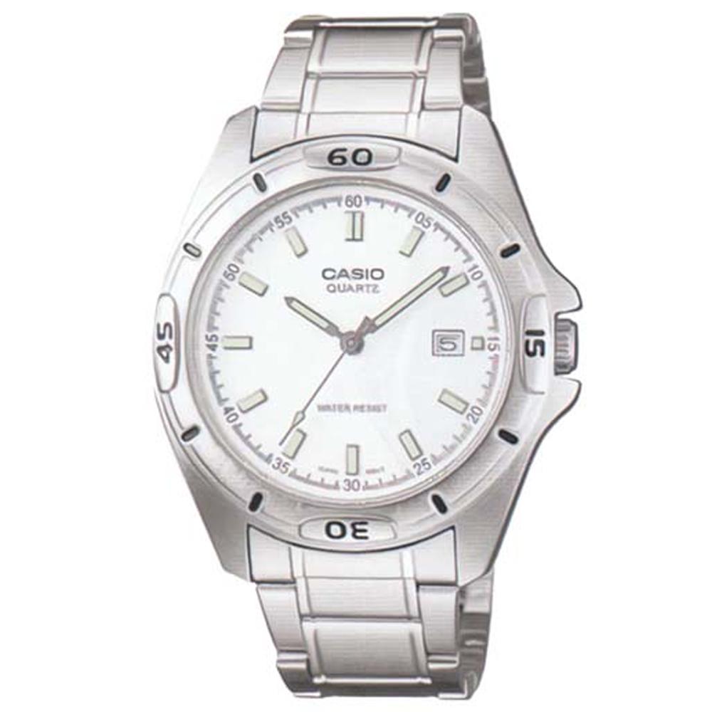 CASIO 經典時尚簡約風格指針腕錶(MTP-1244D-7A)-銀白面/42mm