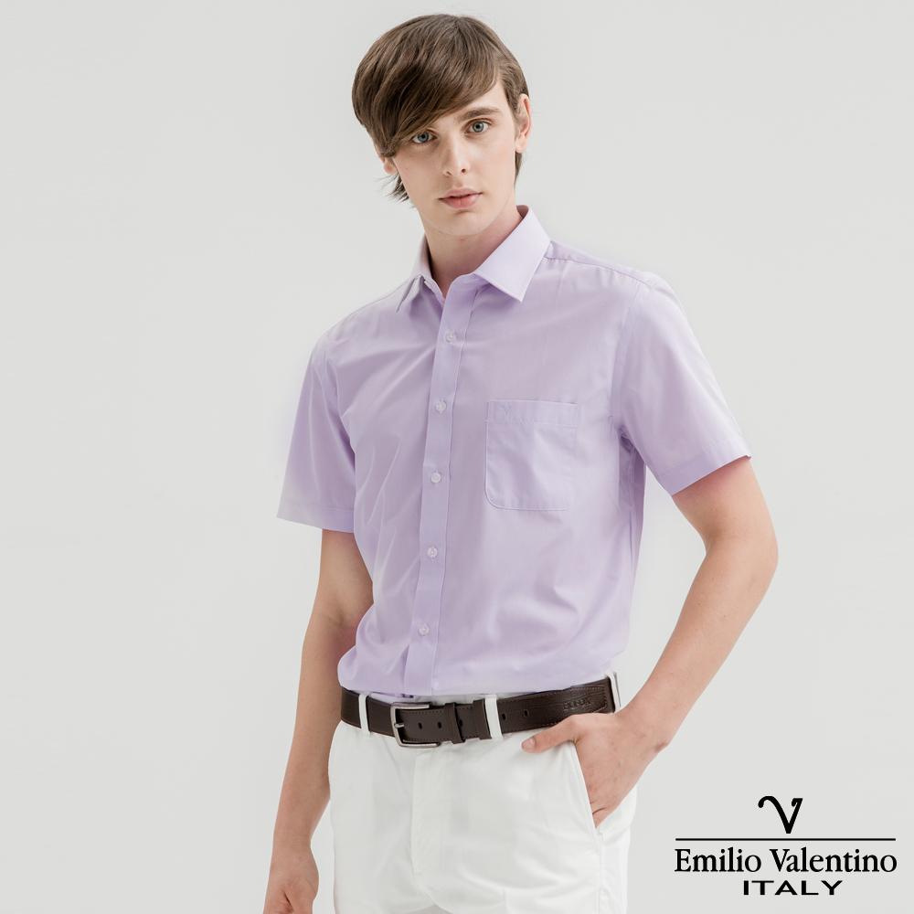 Emilio Valentino范倫提諾都會經典短袖襯衫-淺紫