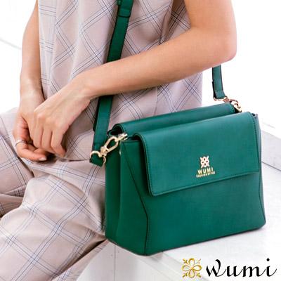 WuMi 無米 葛蒂絲美型雙層斜背包 孔雀綠(快)
