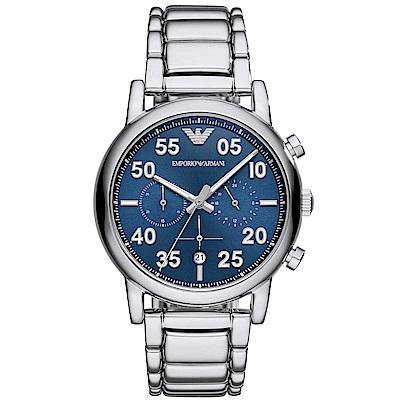 Emporio Armani 品味三眼計時手錶(AR11132)-藍X銀/43mm