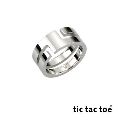 tic tac toe 迴轉愛情白鋼中性戒指