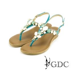 GDC-舒適真皮水鑽寶石楔型厚底T字涼拖鞋-藍色